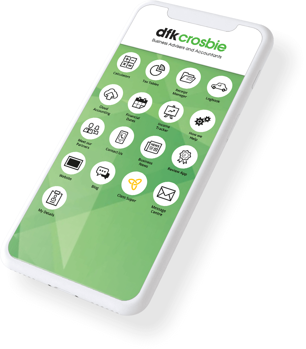 Example of a custom branded MyFirmsApp home screen on a mobile phone.